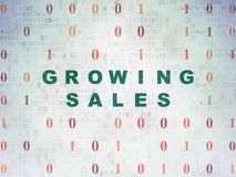 Business concept: Growing Sales on Digital Data Paper background Stock Images