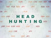Business concept: Head Hunting on Digital Data Paper background. Business concept: Painted green text Head Hunting on Digital Data Paper background with Currency Royalty Free Stock Photos
