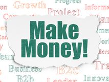 Business concept: Make Money! on Torn Paper background. Business concept: Painted green text Make Money! on Torn Paper background with  Tag Cloud Stock Photos