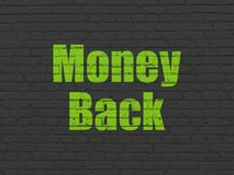 Business concept: Money Back on wall background Stock Photos