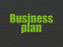 Business concept: Business Plan on wall background. Business concept: Painted green text Business Plan on Black Brick wall background Stock Photography