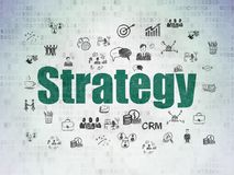 Business concept: Strategy on Digital Data Paper background. Business concept: Painted green text Strategy on Digital Data Paper background with  Hand Drawn Stock Photo
