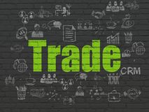 Business concept: Trade on wall background. Business concept: Painted green text Trade on Black Brick wall background with Scheme Of Hand Drawn Business Icons Royalty Free Stock Photo
