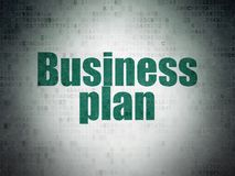 Business concept: Business Plan on Digital Data Paper background. Business concept: Painted green word Business Plan on Digital Data Paper background Royalty Free Stock Photography