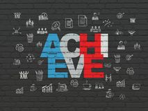 Business concept: Achieve on wall background. Business concept: Painted multicolor text Achieve on Black Brick wall background with  Hand Drawn Business Icons Royalty Free Stock Photos