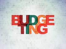 Business concept: Budgeting on Digital Data Paper background. Business concept: Painted multicolor text Budgeting on Digital Data Paper background Stock Photo