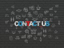 Business concept: Contact us on wall background. Business concept: Painted multicolor text Contact us on Black Brick wall background with  Hand Drawn Business Stock Photos