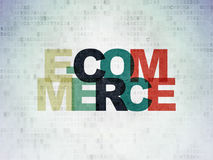 Business concept: E-commerce on Digital Data Paper background. Business concept: Painted multicolor text E-commerce on Digital Data Paper background Stock Photography