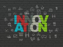 Business concept: Innovation on wall background. Business concept: Painted multicolor text Innovation on Black Brick wall background with  Hand Drawn Business Royalty Free Stock Photography