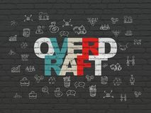 Business concept: Overdraft on wall background. Business concept: Painted multicolor text Overdraft on Black Brick wall background with  Hand Drawn Business Royalty Free Stock Photography