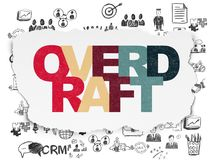 Business concept: Overdraft on Torn Paper background. Business concept: Painted multicolor text Overdraft on Torn Paper background with  Hand Drawn Business Royalty Free Stock Image
