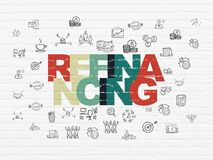 Business concept: Refinancing on wall background. Business concept: Painted multicolor text Refinancing on White Brick wall background with  Hand Drawn Business Royalty Free Stock Photography