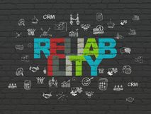 Business concept: Reliability on wall background. Business concept: Painted multicolor text Reliability on Black Brick wall background with  Hand Drawn Business Royalty Free Stock Photography