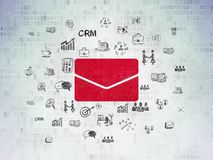 Business concept: Email on Digital Data Paper background. Business concept: Painted red Email icon on Digital Data Paper background with  Hand Drawn Business Stock Photo
