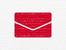 Business concept: Email on wall background. Business concept: Painted red Email icon on White Brick wall background Stock Photos