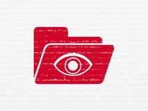 Business concept: Folder With Eye on wall background. Business concept: Painted red Folder With Eye icon on White Brick wall background Royalty Free Stock Images