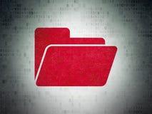 Business concept: Folder on Digital Data Paper background. Business concept: Painted red Folder icon on Digital Data Paper background Stock Images