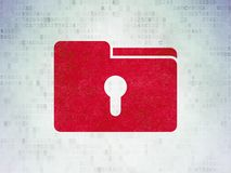 Business concept: Folder With Keyhole on Digital Data Paper background. Business concept: Painted red Folder With Keyhole icon on Digital Data Paper background Royalty Free Stock Images
