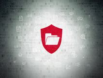 Business concept: Folder With Shield on Digital Data Paper background. Business concept: Painted red Folder With Shield icon on Digital Data Paper background Royalty Free Stock Photos