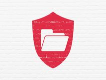 Business concept: Folder With Shield on wall background. Business concept: Painted red Folder With Shield icon on White Brick wall background Stock Photos