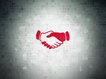 Business concept: Handshake on Digital Data Paper background. Business concept: Painted red Handshake icon on Digital Data Paper background with  Hand Drawn Royalty Free Stock Images