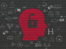 Business concept: Head With Padlock on wall background. Business concept: Painted red Head With Padlock icon on Black Brick wall background with Scheme Of Hand Stock Images