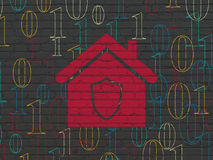 Business concept: Home on wall background. Business concept: Painted red Home icon on Black Brick wall background with  Binary Code Royalty Free Stock Images