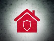 Business concept: Home on Digital Data Paper background. Business concept: Painted red Home icon on Digital Data Paper background Royalty Free Stock Photography