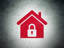 Business concept: Home on Digital Data Paper background. Business concept: Painted red Home icon on Digital Data Paper background Stock Photos