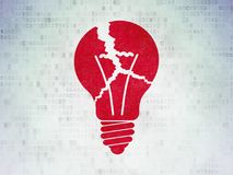 Business concept: Light Bulb on Digital Data Paper background. Business concept: Painted red Light Bulb icon on Digital Data Paper background Stock Photography