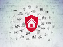Business concept: Shield on Digital Data Paper background. Business concept: Painted red Shield icon on Digital Data Paper background with  Hand Drawn Business Royalty Free Stock Photos