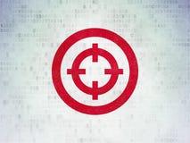 Business concept: Target on Digital Data Paper background. Business concept: Painted red Target icon on Digital Data Paper background Stock Photo