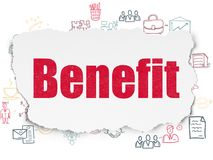 Business concept: Benefit on Torn Paper background. Business concept: Painted red text Benefit on Torn Paper background with Scheme Of Hand Drawn Business Icons Royalty Free Stock Photo