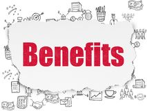 Business concept: Benefits on Torn Paper background. Business concept: Painted red text Benefits on Torn Paper background with  Hand Drawn Business Icons Royalty Free Stock Photo