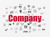Business concept: Company on wall background. Business concept: Painted red text Company on White Brick wall background with  Hand Drawn Business Icons Royalty Free Stock Photography