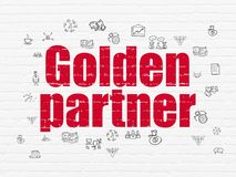 Business concept: Golden Partner on wall background. Business concept: Painted red text Golden Partner on White Brick wall background with  Hand Drawn Business Royalty Free Stock Photos