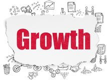 Business concept: growth on torn paper background. Business concept: painted red text growth on torn paper background with  hand drawn business icons Royalty Free Stock Image