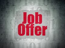 Business concept: job offer on digital data paper background. Business concept: Painted red text Job Offer on Digital Data Paper background with   Binary Code Stock Photography