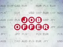 Business concept: Job Offer on Digital Data Paper background. Business concept: Painted red text Job Offer on Digital Data Paper background with Currency Stock Photos