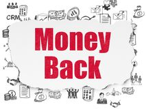Business concept: Money Back on Torn Paper background. Business concept: Painted red text Money Back on Torn Paper background with  Hand Drawn Business Icons Stock Photography