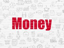Business concept: Money on wall background. Business concept: Painted red text Money on White Brick wall background with  Hand Drawn Business Icons Royalty Free Stock Image