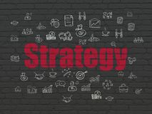 Business concept: Strategy on wall background. Business concept: Painted red text Strategy on Black Brick wall background with  Hand Drawn Business Icons Royalty Free Stock Photography