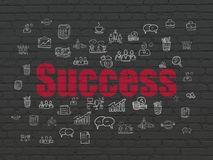 Business concept: Success on wall background. Business concept: Painted red text Success on Black Brick wall background with  Hand Drawn Business Icons Royalty Free Stock Images