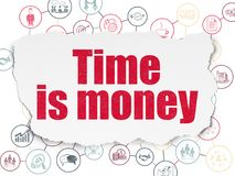 Business concept: Time Is money on Torn Paper background. Business concept: Painted red text Time Is money on Torn Paper background with Scheme Of Hand Drawn Stock Photo