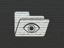 Business concept: Folder With Eye on wall background. Business concept: Painted white Folder With Eye icon on Black Brick wall background Royalty Free Stock Photo