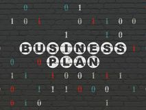 Business concept: Business Plan on wall background. Business concept: Painted white text Business Plan on Black Brick wall background with Binary Code Royalty Free Stock Photos