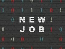 Business concept: New Job on wall background. Business concept: Painted white text New Job on Black Brick wall background with Binary Code Royalty Free Stock Images