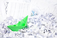 Business concept of paper boat and documents Royalty Free Stock Image