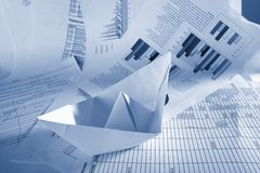 Business concept, paper boat and documents Royalty Free Stock Images
