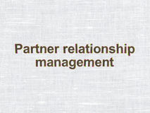 Business concept: Partner Relationship Management. Business concept: CMYK Partner Relationship Management on linen fabric texture background Stock Images